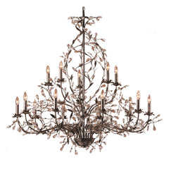 15 Light Chandelier In Deep Rust and Crystal Droplets