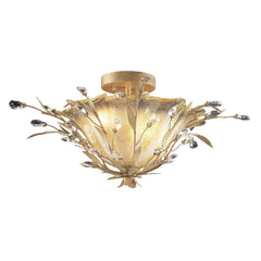 2 Light Semi Flush In Russet Beige and Crystal Droplets