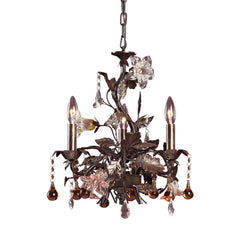 3 Light Chandelier In Deep Rust and Hand Blown Florets