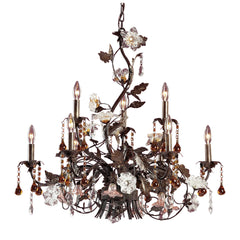 9 Light Chandelier In Deep Rust and Hand Blown Florets