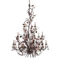 18 Light Chandelier In Deep Rust and Hand Blown Florets