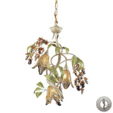 3 Light Chandelier In Seashell and Amber Glass With Adapter Kit