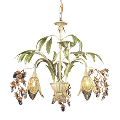 3 Light Chandelier In Seashell and Amber Glass