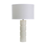 "26"" Transitional Round Stacked Marble Table Lamp"