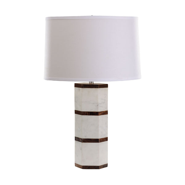 "25"" Transitional White Marble And Wood Hexagon Table Lamp"