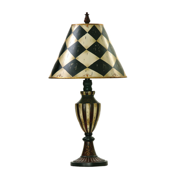 "29"" Traditional Harlequin & Stripe Urn Table Lamp in Black & Antique White"