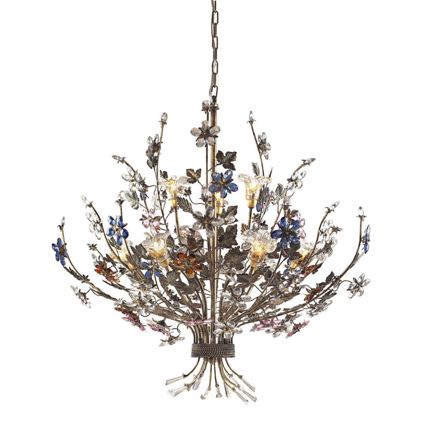 9 Light Chandelier In Bronzed Rust and Multi Colored Crystal Florets