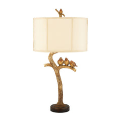 "31"" Traditional Three Bird Light Table Lamp in Gold Leaf and Black"