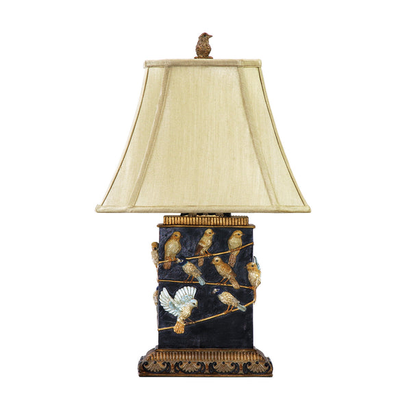 "20"" Traditional Birds On Branch Table Lamp in Black"