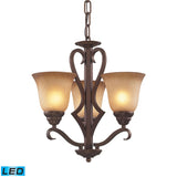 3 Light Chandelier In Mocha and Antique Amber Glass - LED