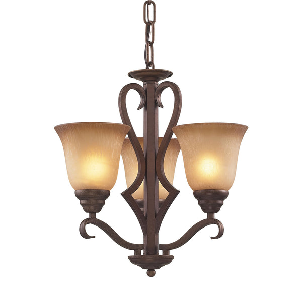 3 Light Chandelier In Mocha and Antique Amber Glass