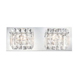 Crown 2 Light Contemporary Vanity Lighting - Clear Crystal Glass / Chrome