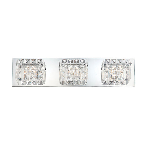 Crown 3 Light Contemporary Vanity Lighting - Clear Crystal Glass / Chrome