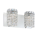 Queen Crown 2 Light Contemporary Vanity Lighting in Clear Crystal Glass / Chrome