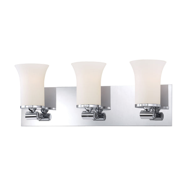 Flare 3 Light Contemporary Vanity Lighting - White Opal Glass / Chrome Finish