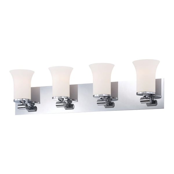 Flare 4 Light Contemporary Vanity Lighting - White Opal Glass / Chrome Finish