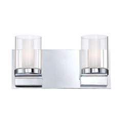Anchor 2 Light Contemporary Vanity Lighting - White Opal Glass / Chrome Finish