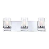 Anchor 3 Light Contemporary Vanity Lighting in White Opal Glass / Chrome Finish