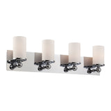 Adam 4 Light Contemporary Vanity Lighting - White Opal Glass / Chrome Finish