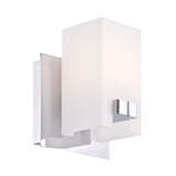 Gemelo Contemporary Vanity Lighting - 1 Light White Opal/ Chrome Finish