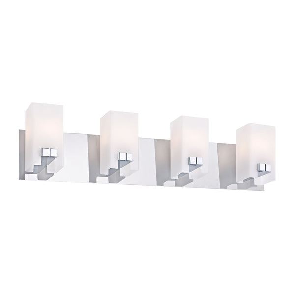 Gemelo Contemporary Vanity Lighting - 4 Light White Opal/ Chrome Finish