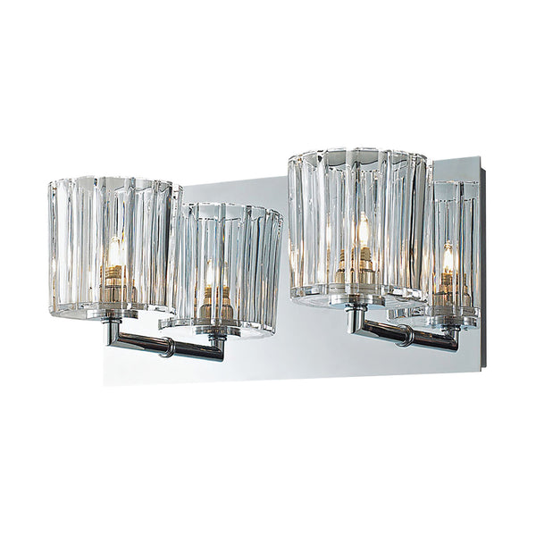 Sprocket 2 Light Contemporary Vanity Lighting In Crystal Glass / Chrome Finish
