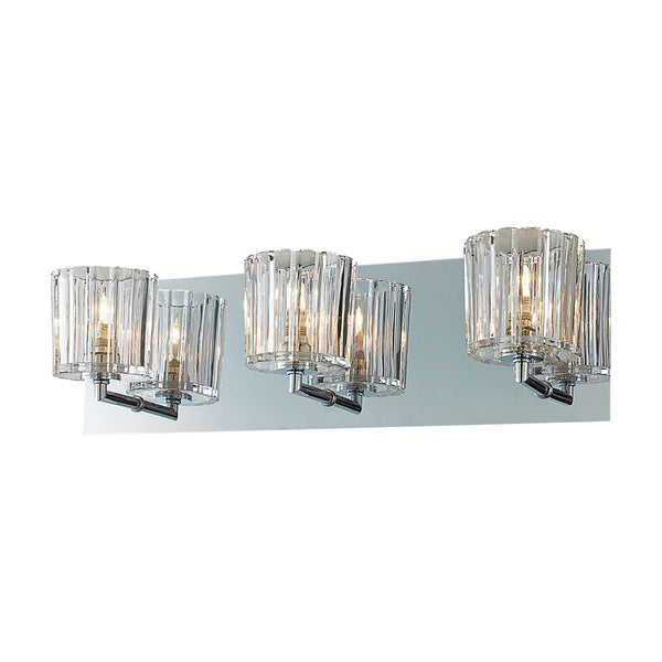 Sprocket 3 Light Contemporary Vanity Lighting In Crystal Glass / Chrome Finish