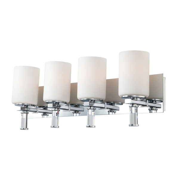 Crystal 4 Light Modern Vanity Lamp w/ White Opal Glass & Crystal Arm / Chrome Finish