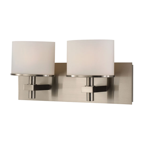 Ombra 2 Light Modern Vanity Lamp w/ White Opal Glass & Polished Nickel Finish