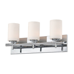 Barro 3 Light Contemporary Vanity Lighting - White Opal Glass / Chrome Finish