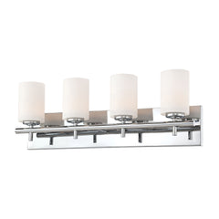Barro 4 Light Contemporary Vanity Lighting - White Opal Glass / Chrome Finish