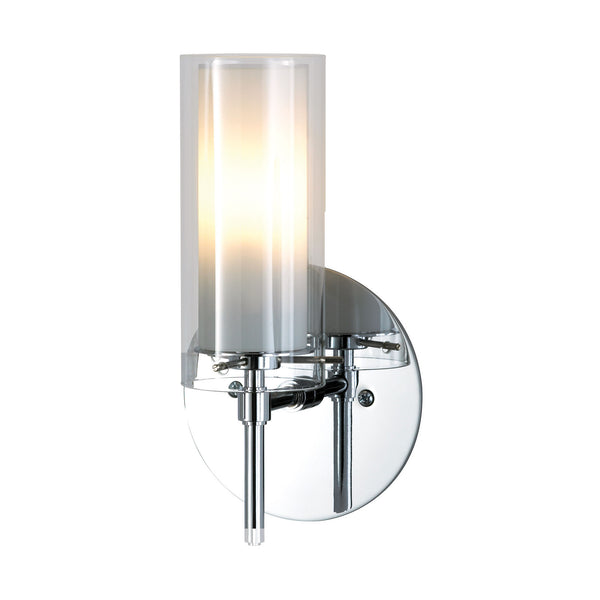 Tubolaire Moern Wall Sconce w/ Clear Outer & White Inner Glass - Chrome Finish