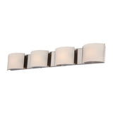 Pandora 4 Light Contemporary Vanity Lamp w/ White Opal Glass / Satin Nickel Finish