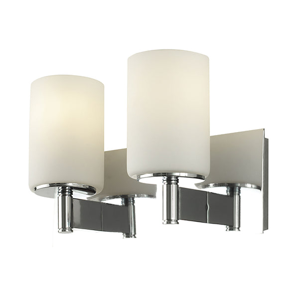 Truss 2 Light Contemporary Vanity Lighting - White Opal Glass/ Chrome Finish