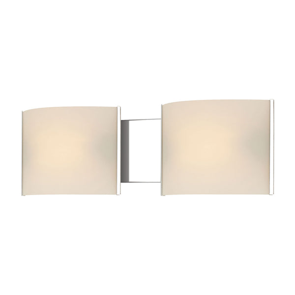 Pannelli 2 Light Contemporary Vanity Lighting w/ White Opal Glass / Chrome Finish