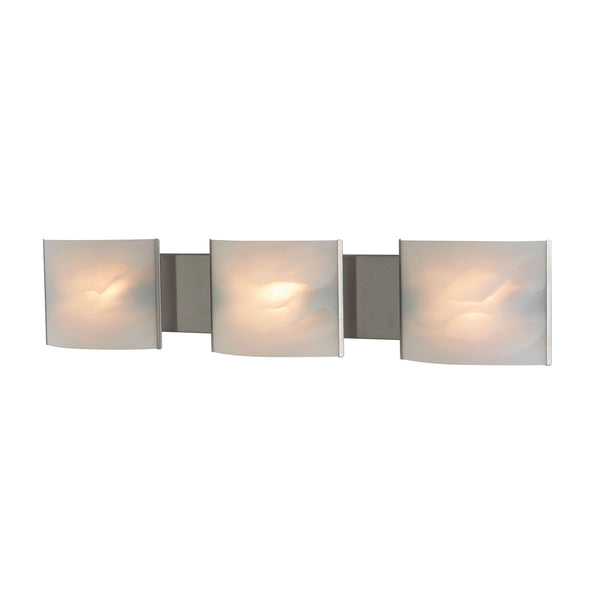 Pannelli 3 Light Contemporary Vanity Lighting - White Alabaster Glass / Ss