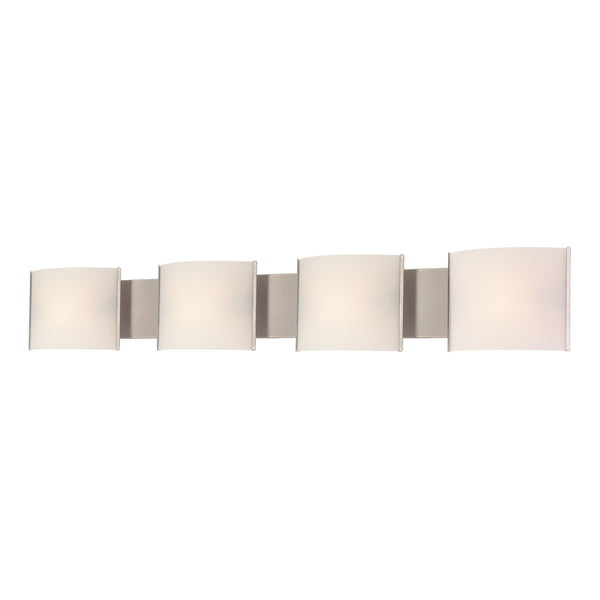 Pannelli 4 Light Contemporary Vanity Lighting - White Opal Glass / SS
