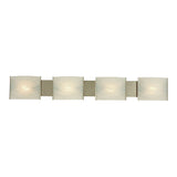 Pannelli 4 Light Contemporary Vanity Lighting - White Alabaster Glass / SS