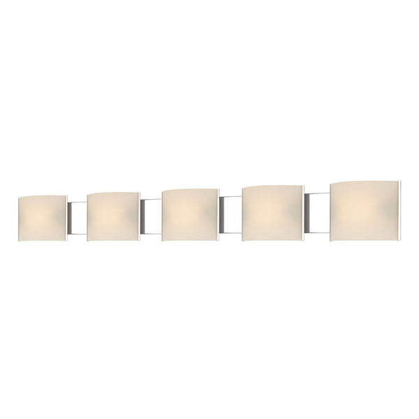 Pannelli 5L Contemporary Vanity Lighting w/ White Opal Glass / Chrome Finish
