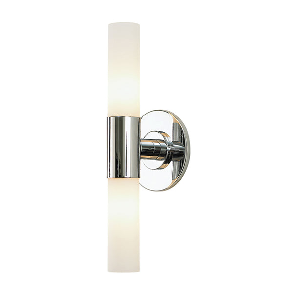 Double Cylinder Contemporary Vanity Sconce With White Opal Glass / Chrome Finish