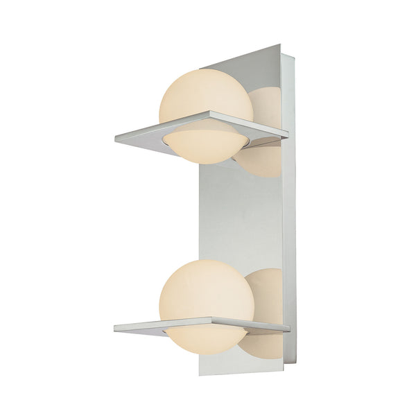 Orbit Double Lamp - Vertical Modern Vanity Light in White-Round Glass & Chrome