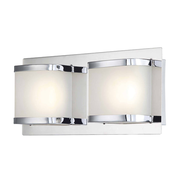 Bandeau 2 Lite Contemporary Vanity LED Opal Glass Chrome Finish