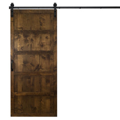 "Five Panel Sliding Barn Door, Dark Chocolate, 36""W x 84""H, All Hardware Included"