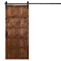 "Five Panel Sliding Barn Door, Walnut, 36""W x 84""H, All Hardware Included"