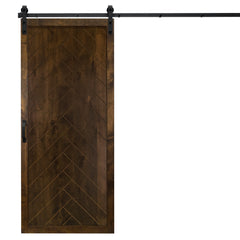 "Herringbone Sliding Barn Door, Dark Chocolate, 36""Wx84""H, All Hardware Included"