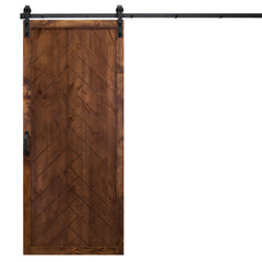"Herringbone Sliding Barn Door, Walnut, 36""W x 84""H, All Hardware Included"