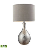 "Diamond Lighting 21.5"" Hammered Chrome Plated LED Table Lamp w/ Grey Faux Silk Shade"