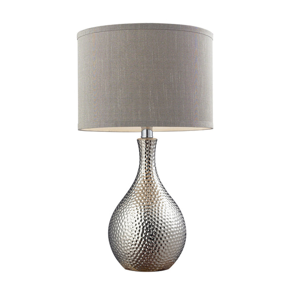 "21.5"" Hammered Chrome Plated Table Lamp w/ Grey Faux Silk Shade"