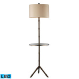 "Diamond Lighting 59"" Transitional Stanton LED Floor Lamp In Dunbrook Finish With Glass Tray"