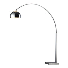 "70"" Contemporary Penbrook Arc Floor Lamp In Chrome With White Marble Base"